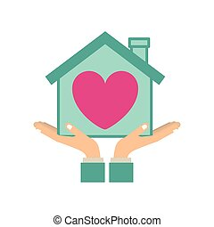 colorful sticker silhouette of hands holding a house with heart inside