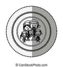 monochrome circle with middle shadow sticker with family...