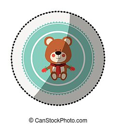 color circle with middle shadow sticker with teddy bear christmas