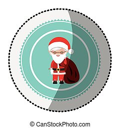 color circle with middle shadow sticker with santa claus...
