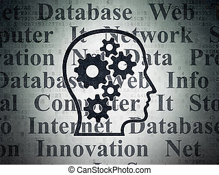 Data concept: Head With Gears on Digital Data Paper...