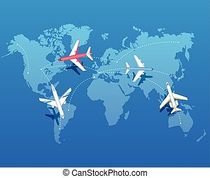 Set of Airplanes Flying over World Map. Vector - Set of...
