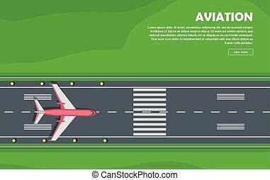 Aviation. Aircraft. Runway. Flight. Vector Banner - Aviation...
