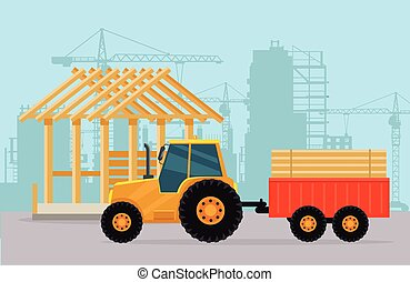 Tractor. Construction. Process of Building House. - Tractor...