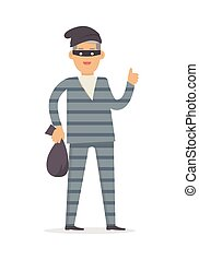 Thief with Bag of Money in Black Mask Isolated. - Thief with...