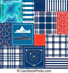 Blue, white and red patchwork. Bohemian style collage made...