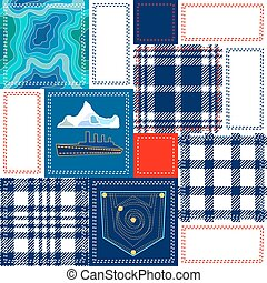 Blue, white and red patchwork. Bohemian style collage made from cotton flaps.