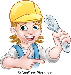 Plumber or Mechanic Woman Holding Spanner