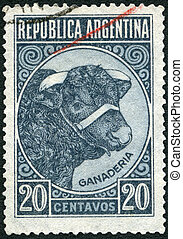 shows Bull Cattle Breeding - ARGENTINA - CIRCA 1935: A stamp...