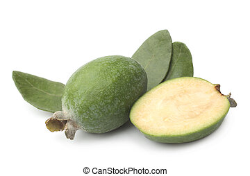 Feijoa with green leaves on white background