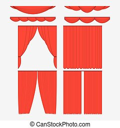 Set of red silk velvet curtains