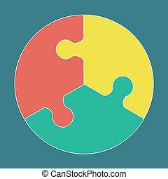 Circular colorful puzzle icon