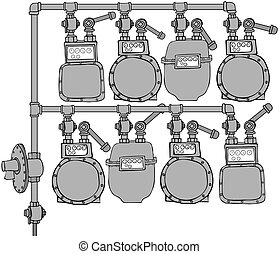 Gas Meter Header - This illustration depicts 8 natural gas...