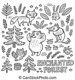 Hand drawn set with animals in outline