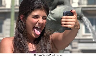 Young Woman Taking Selfies