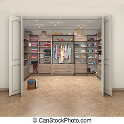 interior and big closet with dressing room, 3d illustration