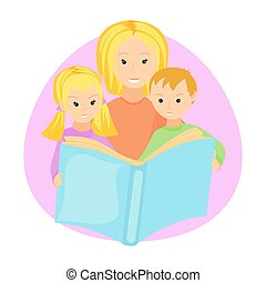 Mother reading book to her children