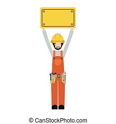 worker with toolkit and plaque up vector illustration