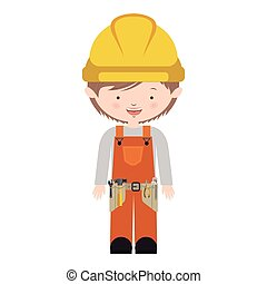 avatar worker with toolkit and brown hair vector...