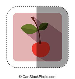 sticker of square button with colorful cherry fruit