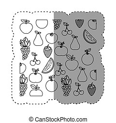 sticker contour background with fruits in irregular shape