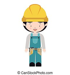 avatar worker with toolkit and blue uniform vector...