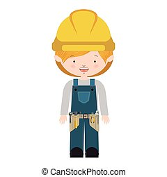 avatar worker with toolkit and blond hair vector...