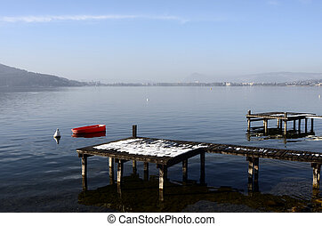Annecy lake and city - Large view of Annecy lake and city...