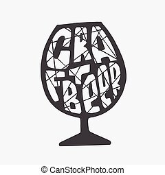 Hand drawn lettering craft beer text in glass - Hand drawn...