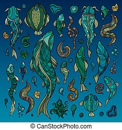 Hand crafted collection of fishes and creatures - Hand...