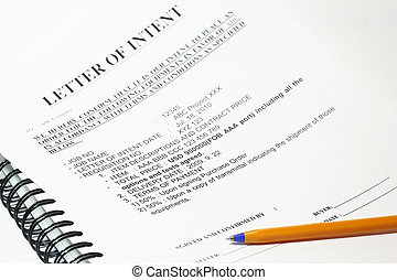Letter of Intent - A pen points to the words, Signature....