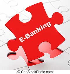 Business concept: E-Banking on puzzle background - Business...