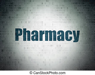 Health concept: Pharmacy on Digital Data Paper background