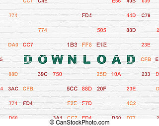 Web development concept: Download on wall background - Web...