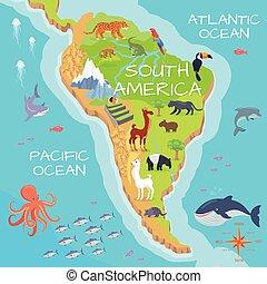 South America Mainland Cartoon Fauna Species - South America...