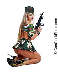 dancer dressed as soldier - beautiful striptease dancer,...