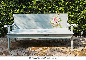 Art bench in an garden
