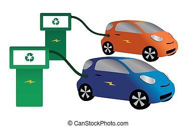 Eco Cars Refuelling - Two Electric Cars Refuelling Isolated...