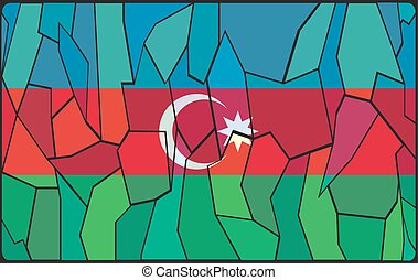 Azerbaijan Flag Stained Glass Window - An Azerbaijan flag...