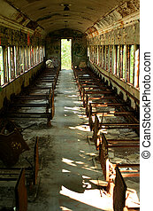 Old abandoned passenger train car - A Old abandoned...
