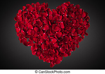 red heart shape of rose petals  on grey background, love and valentine day