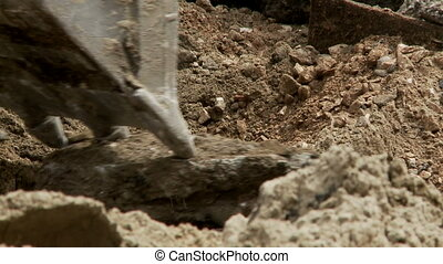 close-up shot of excavator while digging