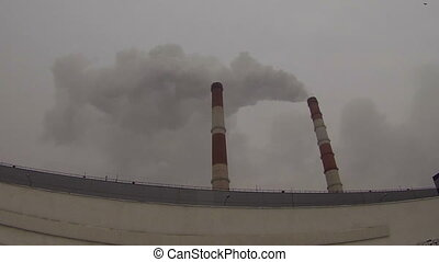 Smoke from chimneys at manufacturing enterprise - Smoke from...