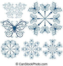 Collection blue snowflakes and butterflies isolated on white...