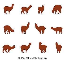 Alpaca and llams emblems collection. Silhouettes of animals...