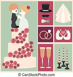 Vector illustration of wedding color symbol set - Vector...