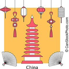 Vector set illustration of Chinese and Asia symbol