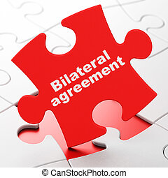Insurance concept: Bilateral Agreement on puzzle background...