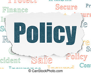Insurance concept: Policy on Torn Paper background -...