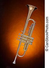 Gold Trumpet Isolated on Spotlight